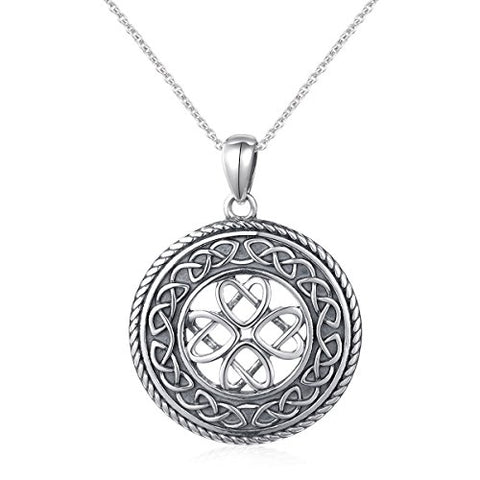 925 Sterling Silver Jewelry Oxidized Good Luck Irish Knot Celtic Medallion Round Pendant Necklace