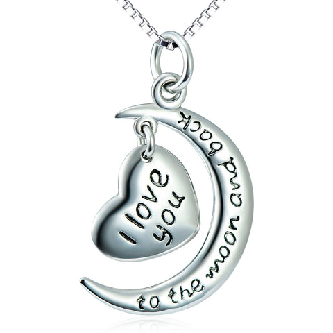 I Love You Moon And Star Necklace For Lovers Wholesale 925 Sterling Silver Jewelry