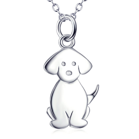 Cute Animal Dog Shaped Necklace Wholesale 925 Sterling Silver For Gifts