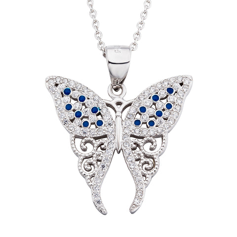 Blue Butterfly Necklace Blue Gemstone Animal Necklace Silver