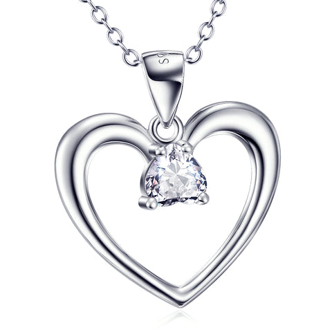 Loving Heart Shaped Pendant Necklace Wholesale 925 Sterling Silver Jewelry For Woman