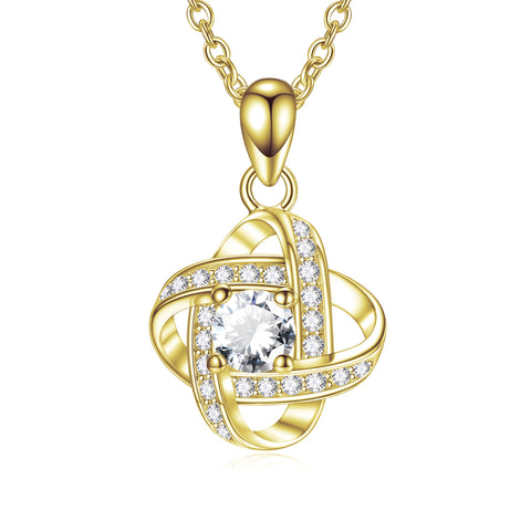 Forever Love Knot Necklace Yellow Gold Plating Cubic Zirconia Simple Necklace