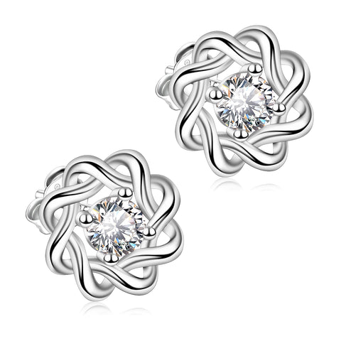 Love Knot Studs Earring Flower Shape Wedding Bride Jewelry Earrings