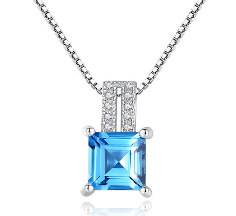 Sky blue square birthstone inlaid cubic zircon box chain hot sale
