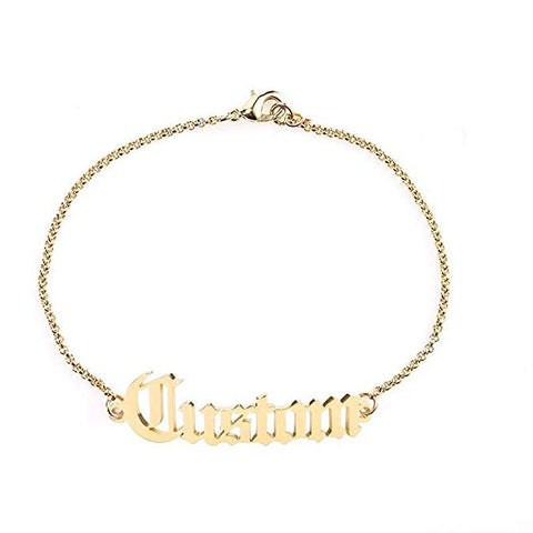 Personalized Name Anklet Custom 925 Sterling Silver Old English Name Ankle Bracelet 21cm + 7cm Extendable Chain