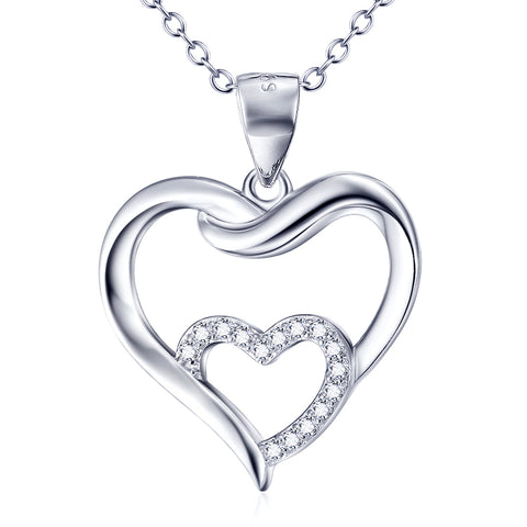 Loving Hearts Shaped Necklace Wholesale 925 Sterling Silver Jewelry For Woman