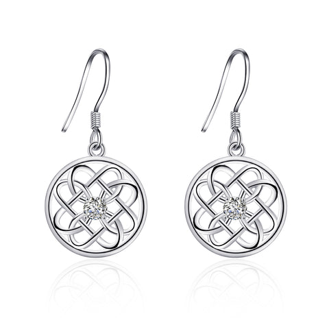 Celtic Knot Round Hollow Disc Weave Earring Sterling Silver Drop Earrings