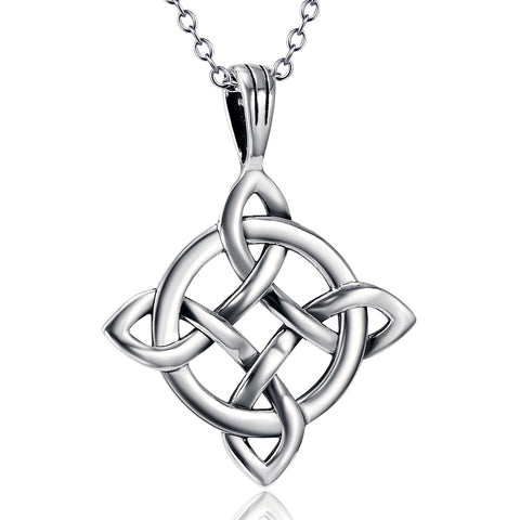 Antique Silver Charm Necklace For Women Infinity Knot Pendant Necklace