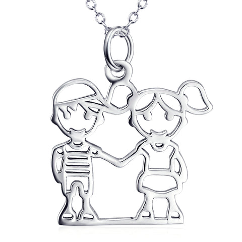 Loving Fun Kids Pendant Necklace For Lovers Customed 925 Sterling Silver Jewelry
