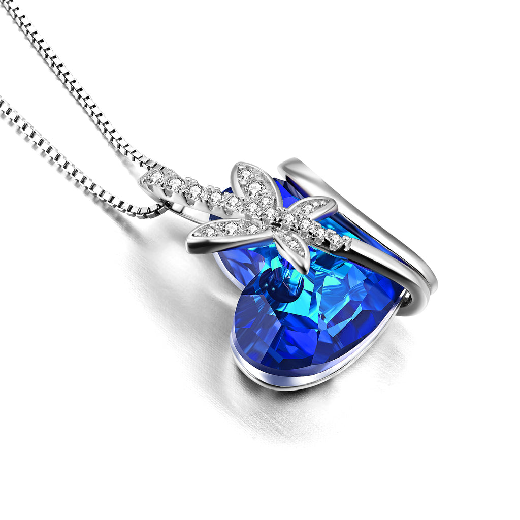 Box Chain Crystal Blue Necklace 18 inch Design Wholesale Necklace