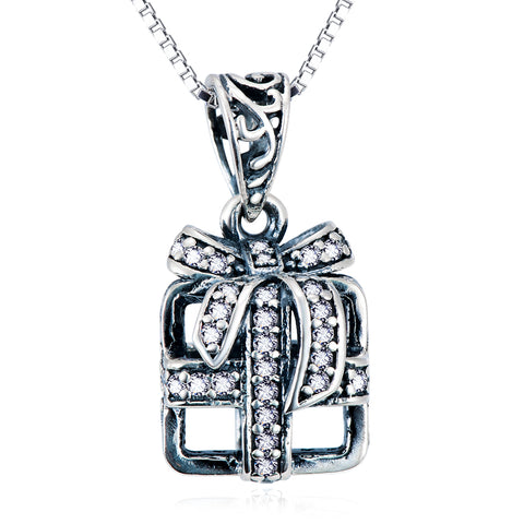 Gift Box Shaped Pendant Necklace Wholesale 925 Sterling Silver Jewelry For Woman