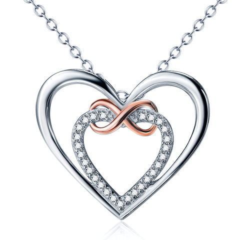 Latest Design Infinity Heart Pendant Necklace Cubic Zircon Necklaces for Women