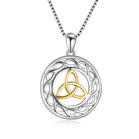 Latest Gold Rhodium 925 Sterling Silver Celtic Knot Fashionable Necklace