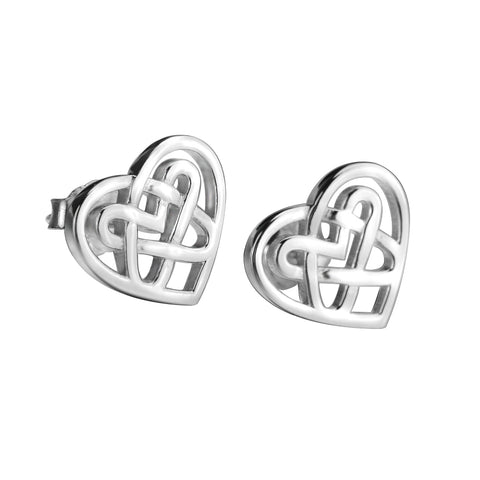 Silver Love Heart Knot Stud Earrings Jewelry Women's, Earrings