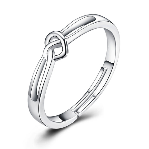 Heart Knot Adjustable Size Rings for Man and Woman Silver Jewelry