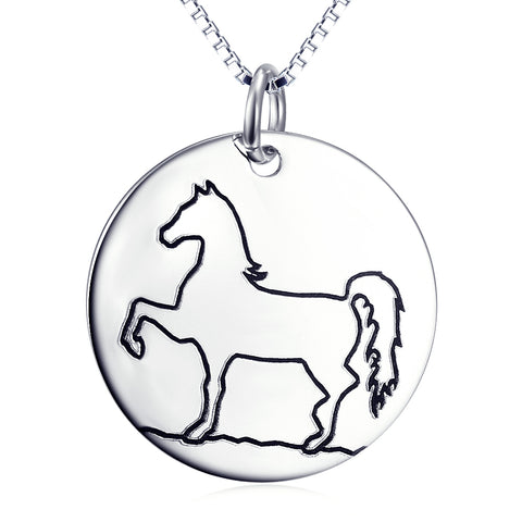 Cute Animal Horse Necklace Wholesale 925 Sterling Silver Gift Wedding Jewelry For Woman and Man