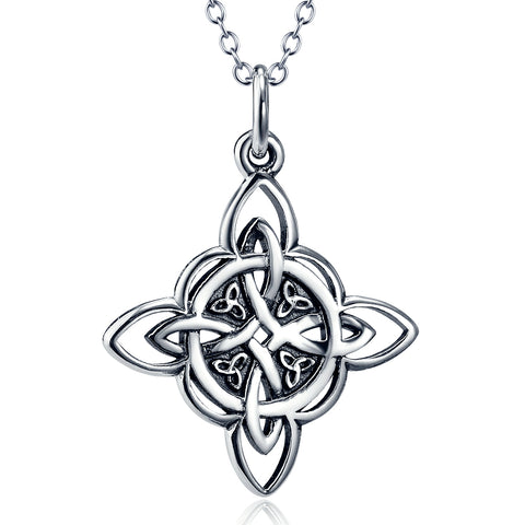 Silver Chinese Knot Pendant Necklace Retro Jewelry Wholesale
