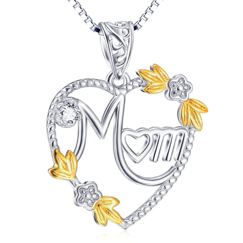Heart Shaped With Flowers Pendant Necklace For Woman Wholesale 925 Sterling Silver Jewelry