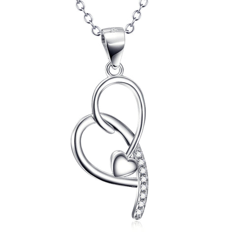 Loving Heart Shaped Necklace Wholesale 925 Sterling Silver Jewelry For Woman