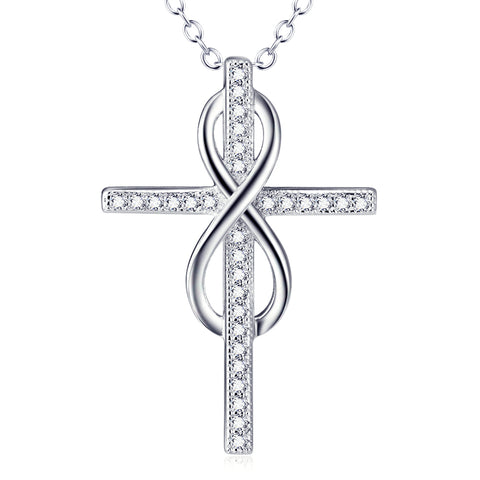 Classic Religious Crossing Necklace Wholesale 925 Sterling Silver Cubic Zirconia For Woman