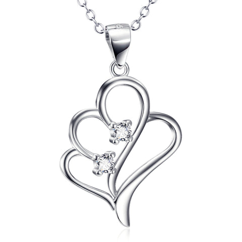 Cubic Zirconia Heart Shaped Necklace Factory 925 Sterling Silver Jewelry For Gifts