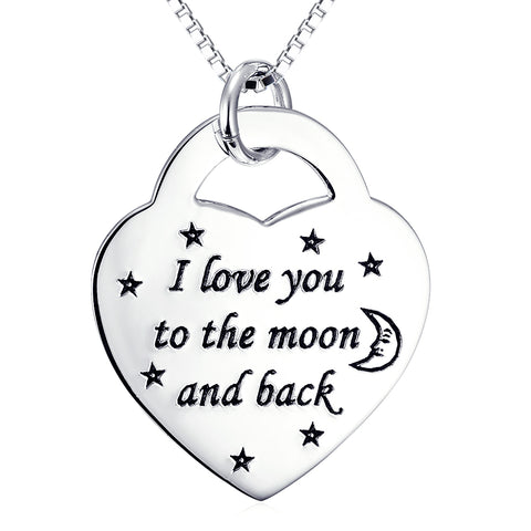 I Love You ToThe Moon And  Back Necklace Fashion Customed 925 Sterling Silver Necklace For Woman