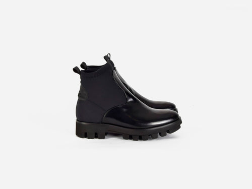 pregis black leather neoprene extralight sole contemporary chelsea boot made in portugal