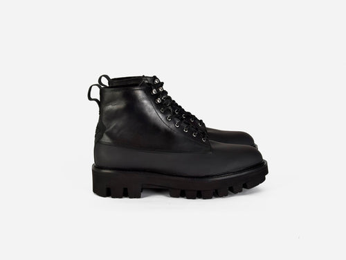 Lasco Black leather combat boots