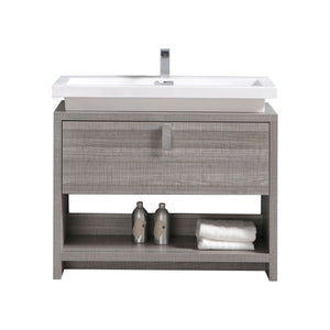 "LEVI- 40"" Kubebath, Ash Gray, Floor Standing Modern Bathroom Vanity With Cubby Hole - CCSUPPLY INC."