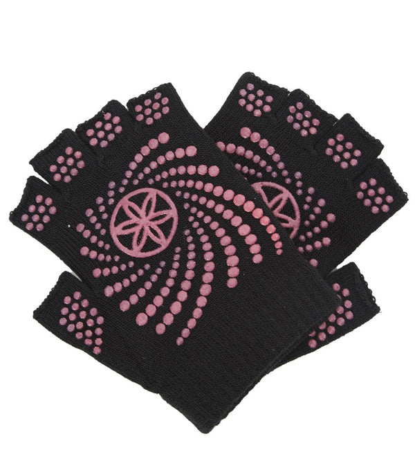 Gaiam Super Grippy Yoga Gloves With Pink Dots