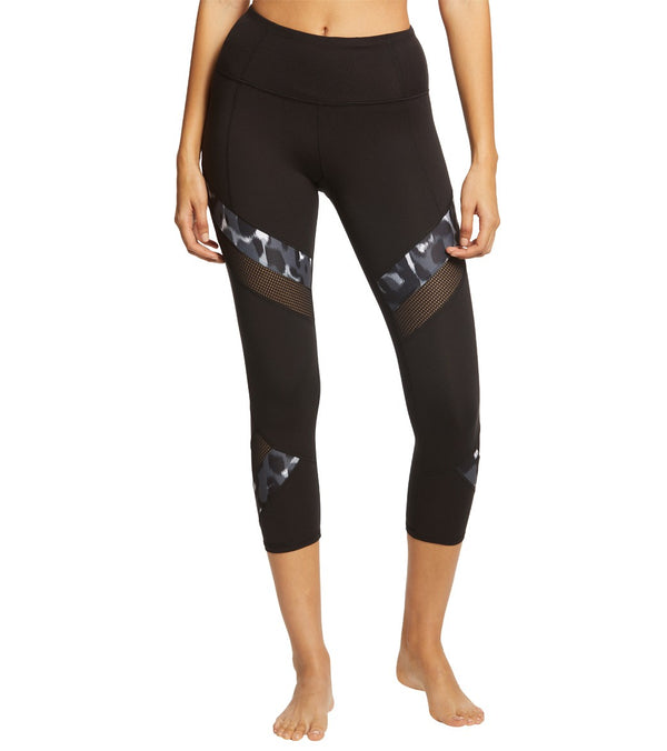 Betsey Johnson Performance High Rise Solid With Print Mesh Yoga Capris