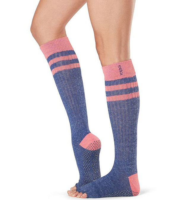 Toesox Scrunch Knee High Half-Toe Yoga Grip Socks