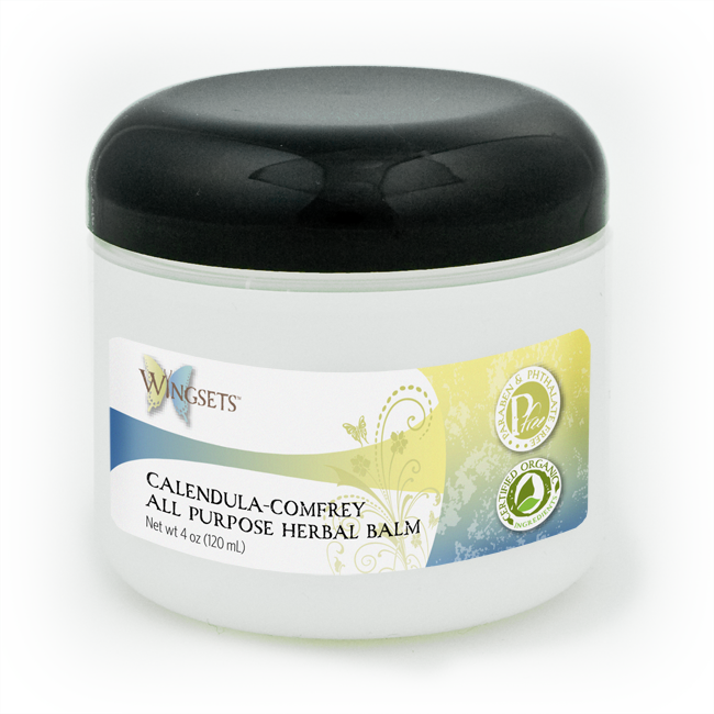 organic herbal all purpose balm with calendula and chamomile infused oils