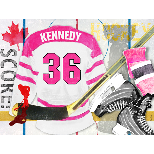 Hockey, Pink on canvas
