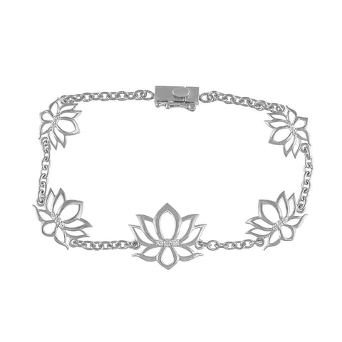 Lotus Bracelet for Women white gold
