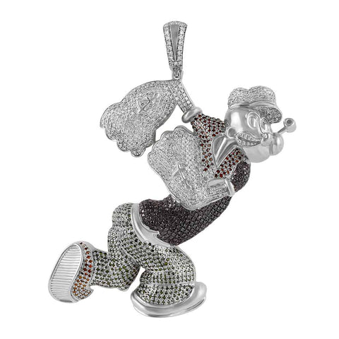 Men's Popeye Cartoon Diamond Pendant 10k Gold by Fehu Jewel