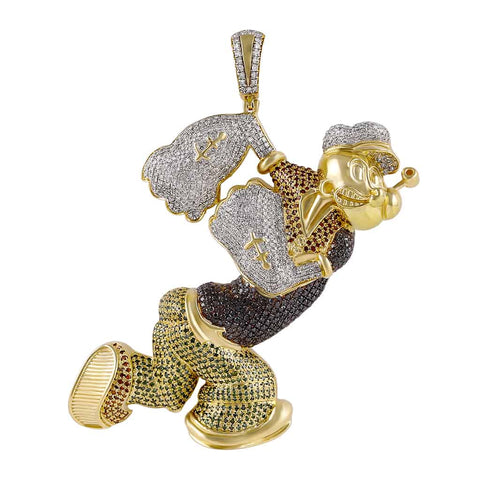 Men's Popeye Cartoon Diamond Pendant 14k Gold by Fehu Jewel