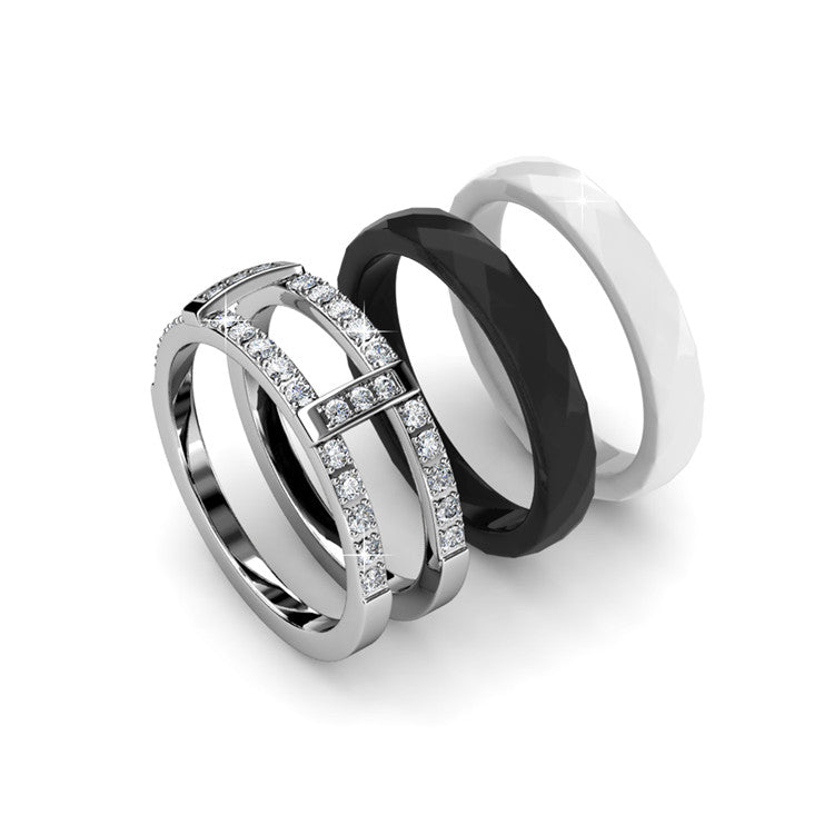 2-in-1 Interchangeable Ring Set Ft Swarovski Crystals