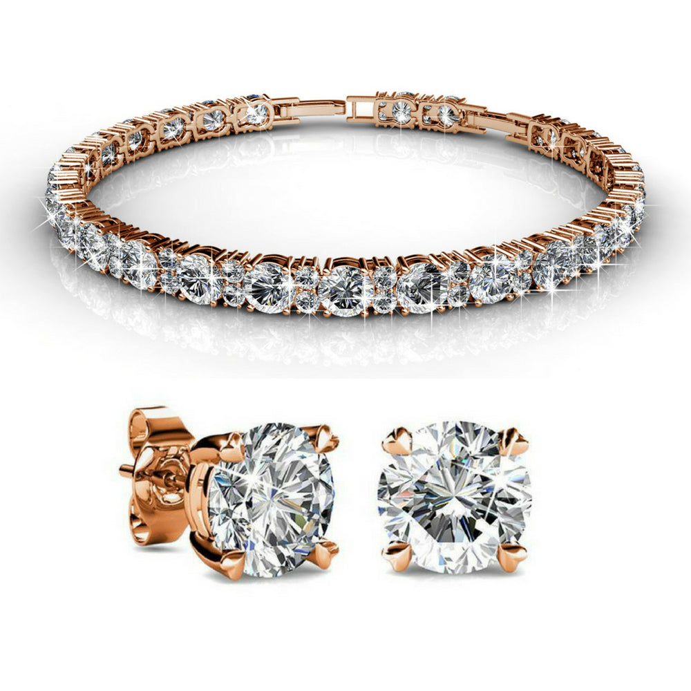 2pc Set w/Swarovski® Crystals - Rose Gold / Clear