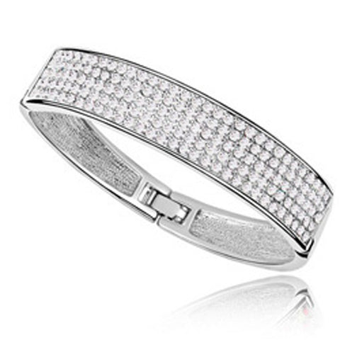 Pave Bangle Ft Swarovski Crystals -WG