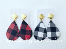 Load image into Gallery viewer, Buffalo Check Plaid Leather Statement Earrings - Red & Black or Black & White - Ginger jar
