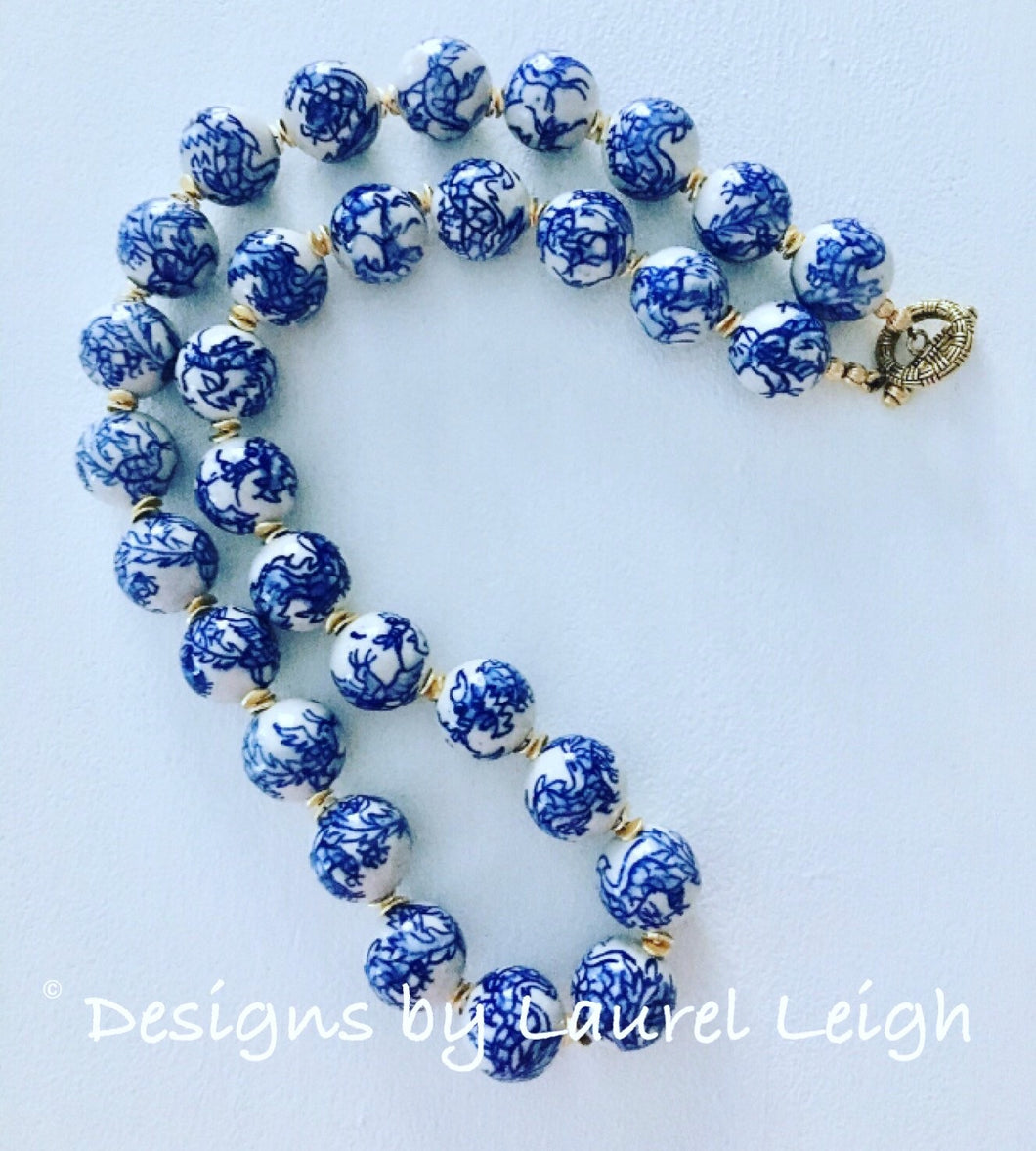 Blue and White Chunky Chinoiserie Dragon Statement Necklace - Ginger jar