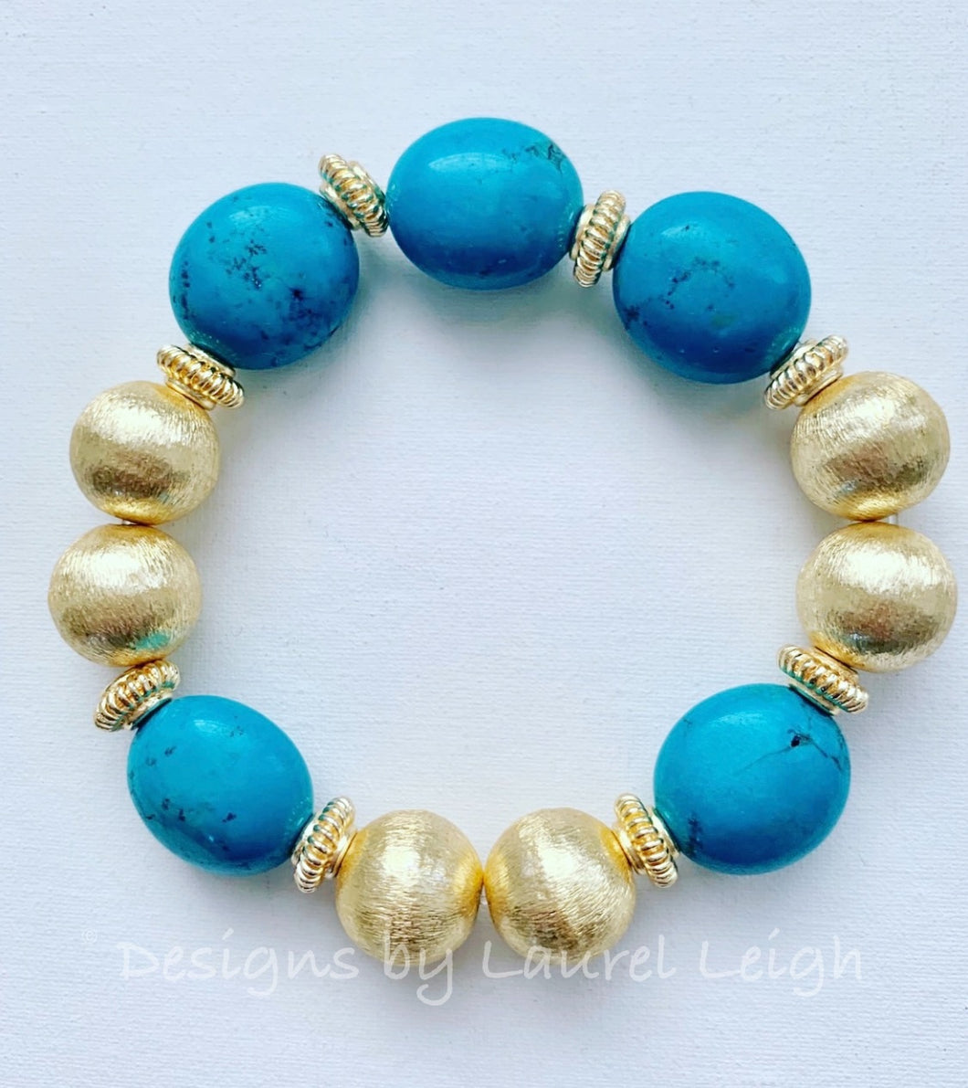 Turquoise and Gold Chunky Beaded Bracelet - Ginger jar