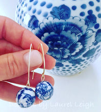 Load image into Gallery viewer, Chinoiserie Vintage Bead Dangle Earrings - Ginger jar