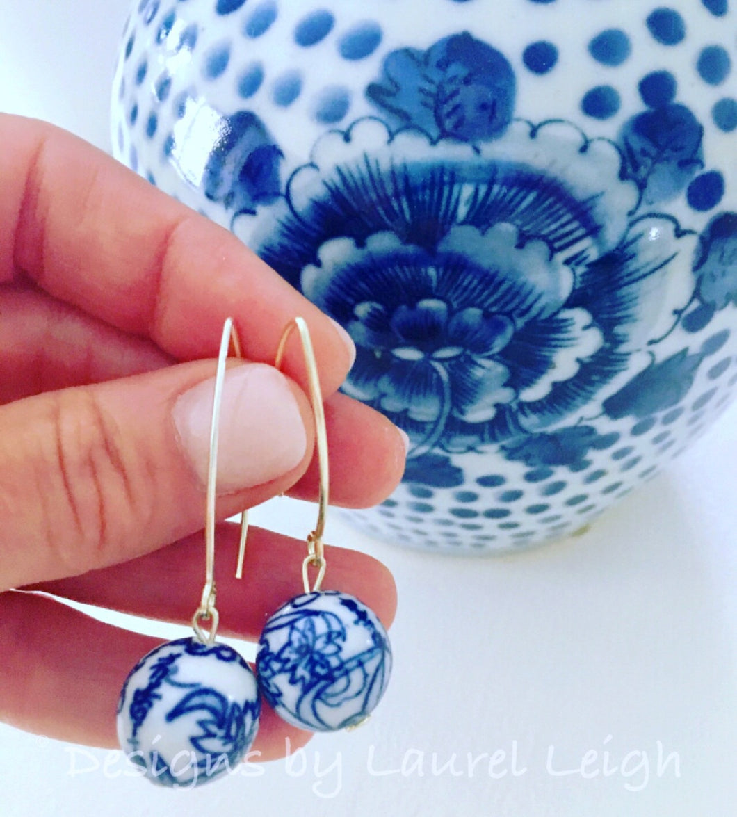 Chinoiserie Vintage Bead Dangle Earrings - Ginger jar