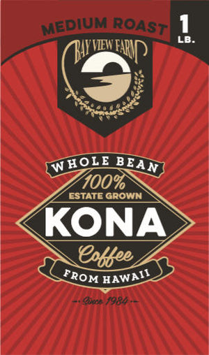 Medium Roast 100% Kona Coffee - The Bay View Coffee Farm in Kona, Hawaii