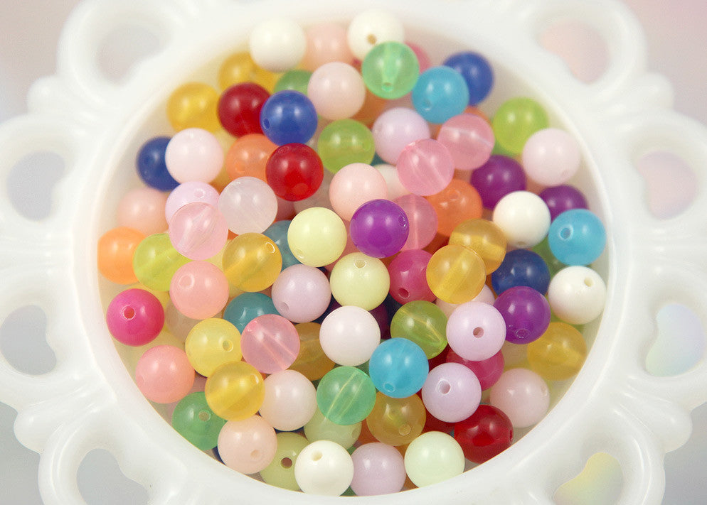 10mm Jelly Candy Translucent Gumball Bubblegum Resin or Acrylic Beads - 80 pc set