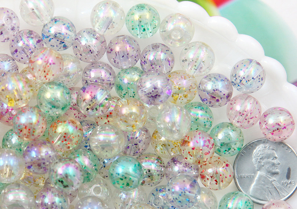 Glitter Beads - 10mm Transparent Glitter Acrylic or Plastic Beads - 80 pc set
