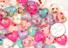 14mm Little Sparkle Party Confetti Pastel Heart Acrylic or Resin Flatback Cabochons - 20 pc set