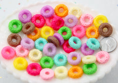 17mm Fake Fruit Loops or Cheerios Cereal Hard Resin Flatback Cabochons - 11 pc set